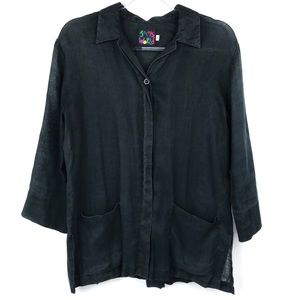 Jams World Black Linen Button Up Long Sleeve Tunic